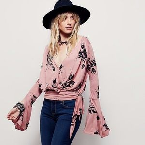 Free People Fiona Pink Floral Bell Sleeve Wrap Top